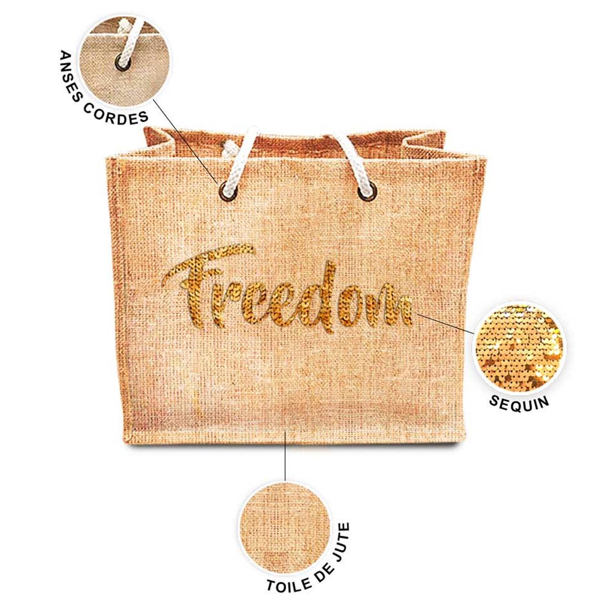Sac shopping \'Freedom\' beige doré (jute) - 42x345x185 cm - [P8789]