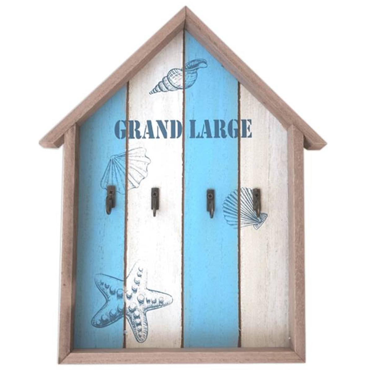 Boite à clés bois \'Monde Marin\' bleu blanc beige (grand large) - 305x24x35 cm - [P8816]