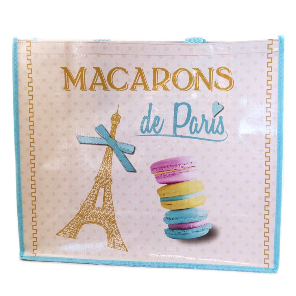 Sac Shopping rétro \'Macarons de Paris\' beige turquoise - 46x40x19 cm - [P9225]