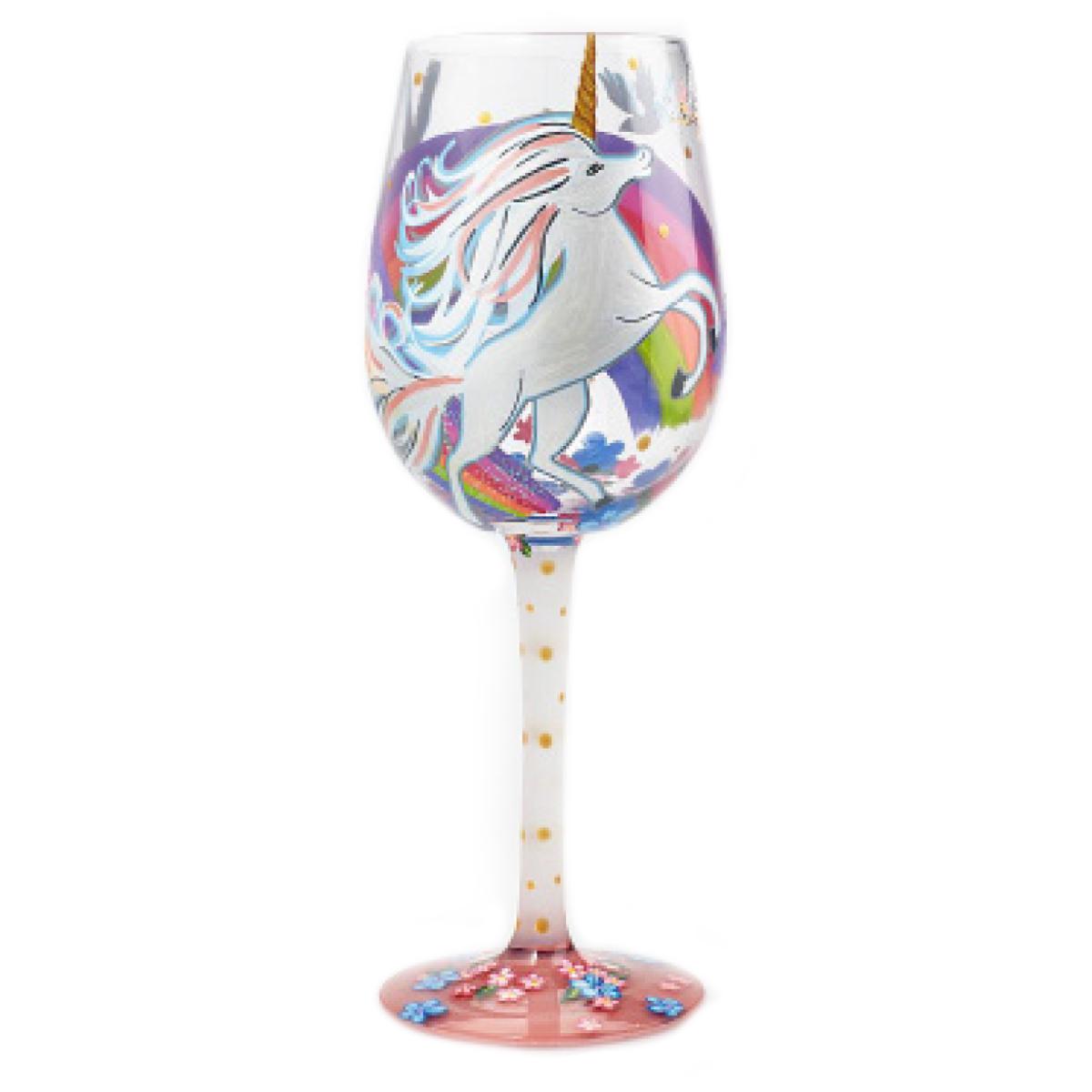 Verre à vin artisanal \'Licorne My Unicorn\' multicolore - 215 cm - [P9233]