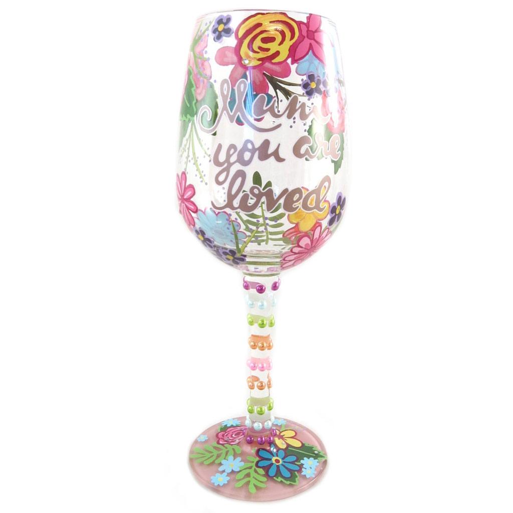 Verre à vin artisanal \'Mum you are loved\' multicolore - 215 cm - [P9234]