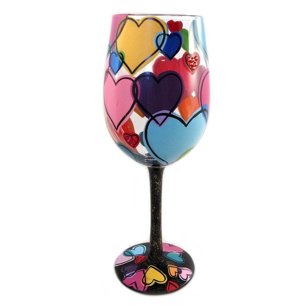 Verre à vin artisanal \'Love is all around\' multicolore - 215 cm - [P9235]