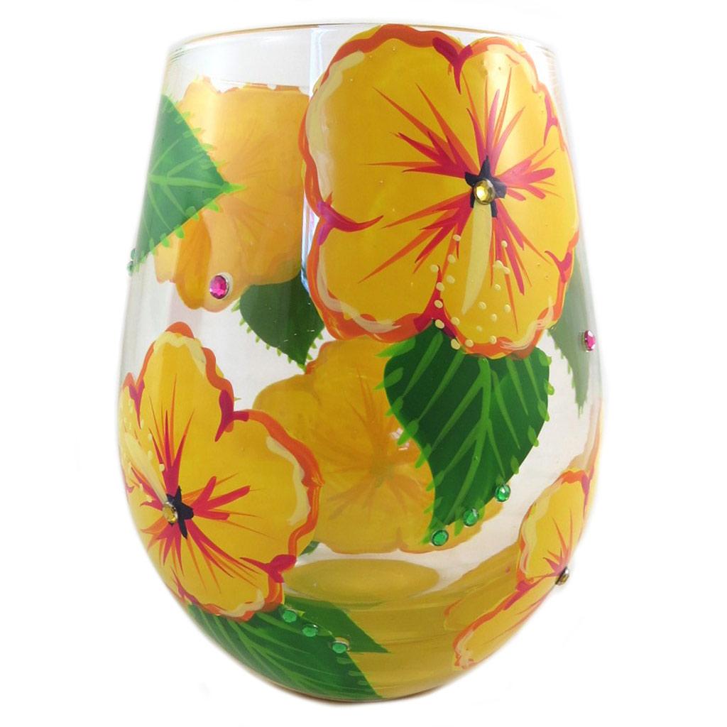 Verre à vin artisanal \'Hibiscus\' jaune vert - 125x7 cm - [P9236]