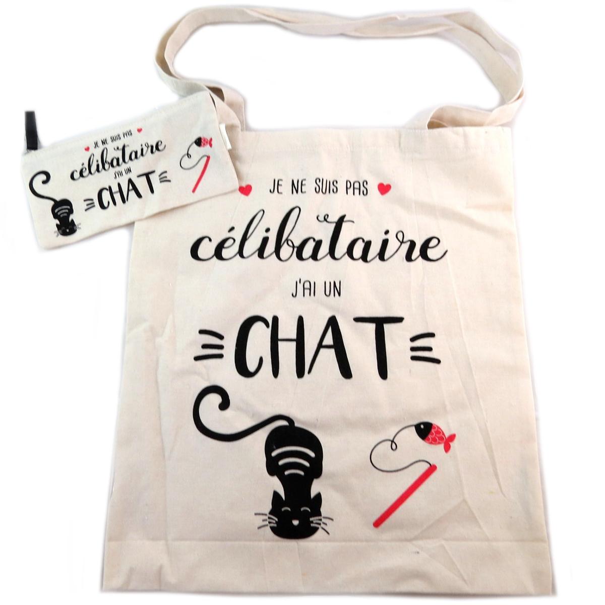 Sac coton / Tote bag + trousse \'Chat\' beige (Je ne suis pas Célibataire, j\'ai un Chat) -  41x365 cm - [Q0437]