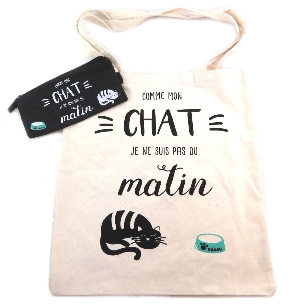Sac coton / Tote bag + trousse \'Chat\' beige (Comme mon Chat je ne suis pas du Matin) -  41x365 cm - [Q0438]
