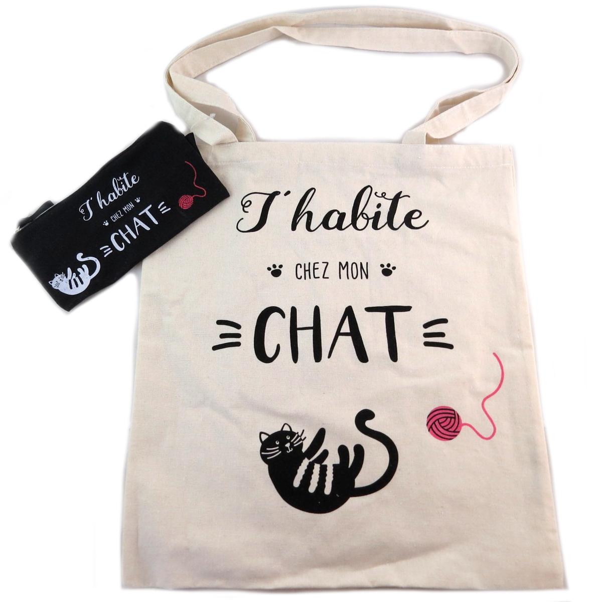Sac coton / Tote bag + trousse \'Chat\' beige (J\'habite chez mon Chat) -  41x365 cm - [Q0439]