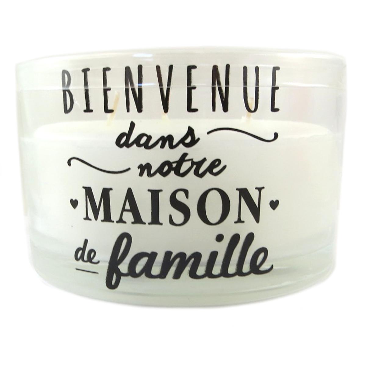 Bougie décorative \'Messages\' blanc (Bienvenue dans notre Maison de Famille) 3 mèches - 13x75 cm - [Q0451]