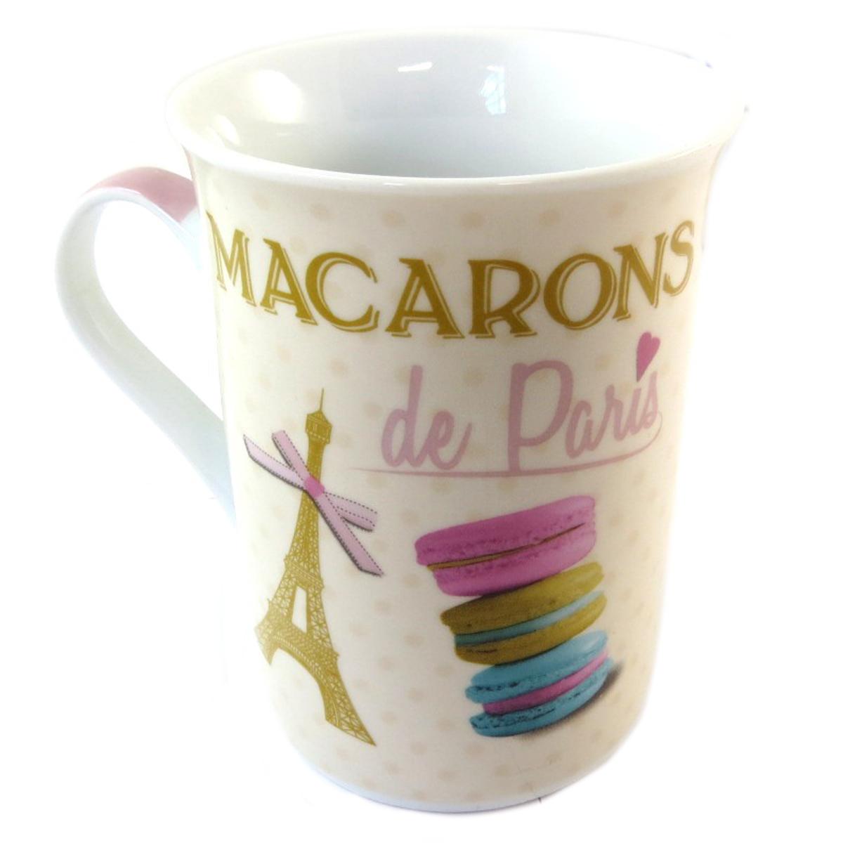 Mug porcelaine \'Macarons de Paris\' beige multicolore - 10x75 cm - [Q0460]