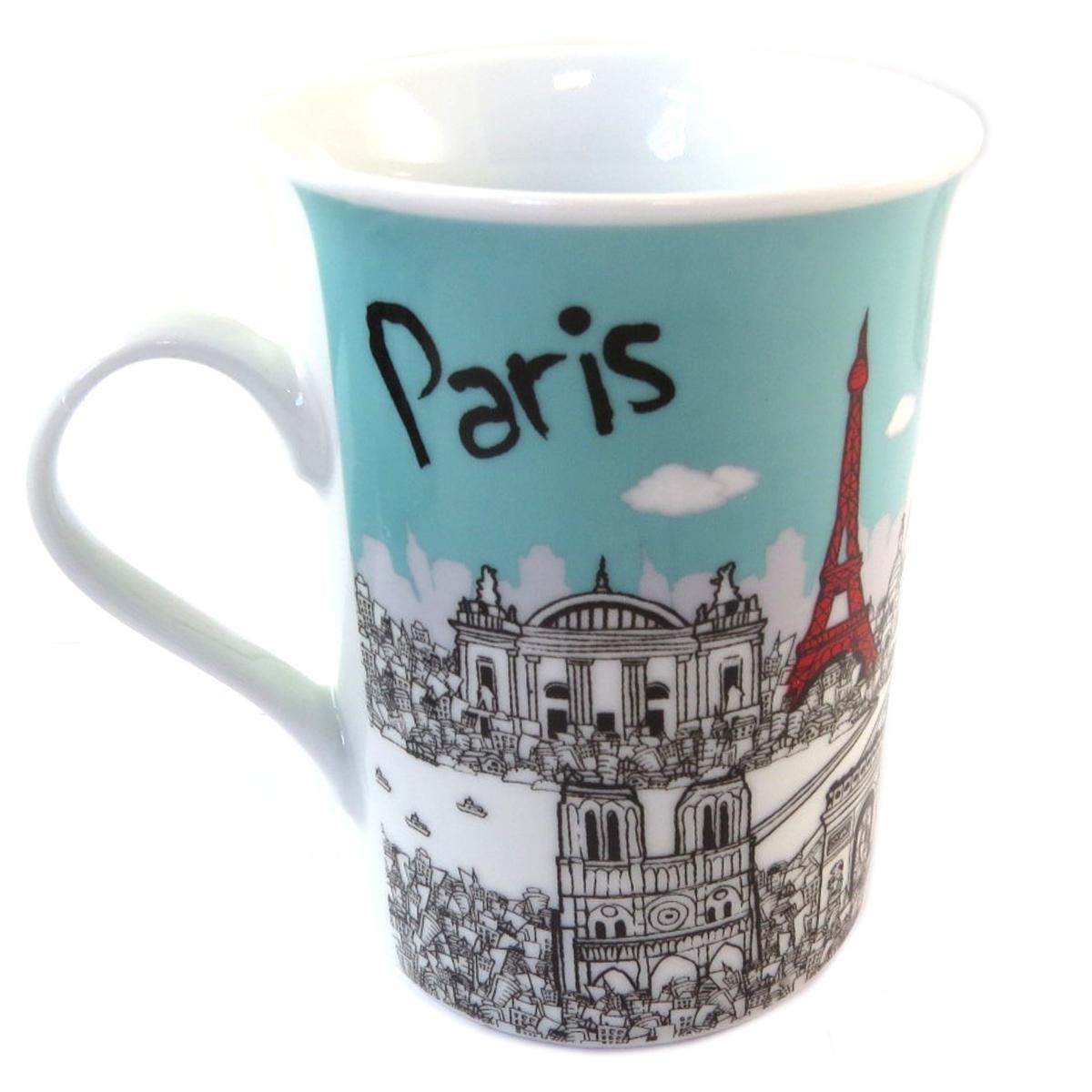 Mug porcelaine \'Paris\' turquoise rouge blanc (tour eiffel) - 10x75 cm - [Q0461]