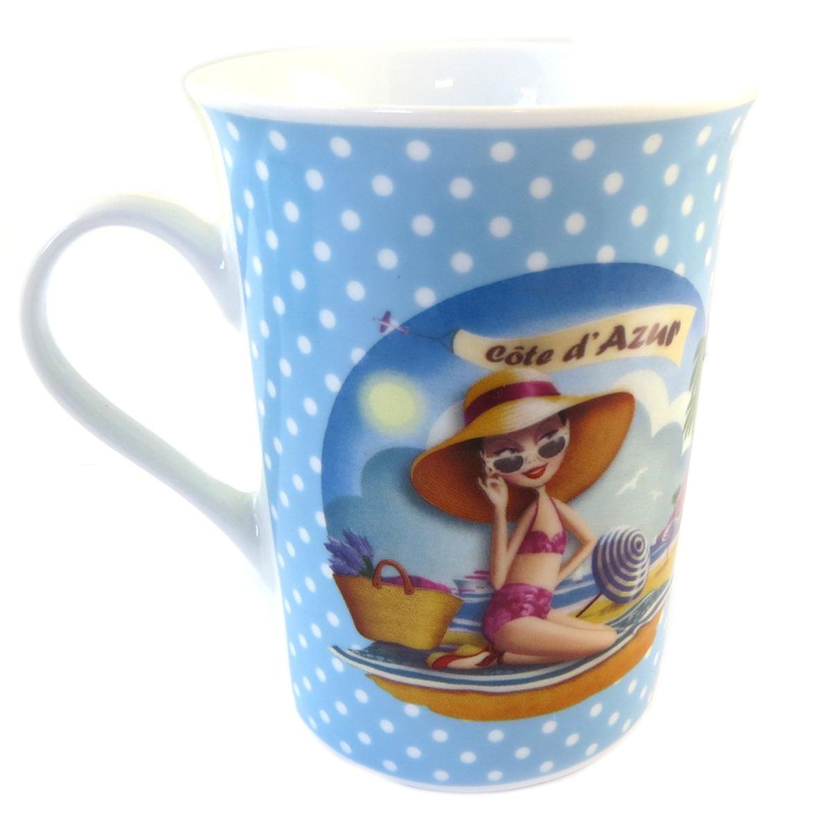 Mug porcelaine \'Côte d\'Azur\' bleu petits pois - 10x75 cm - [Q0463]