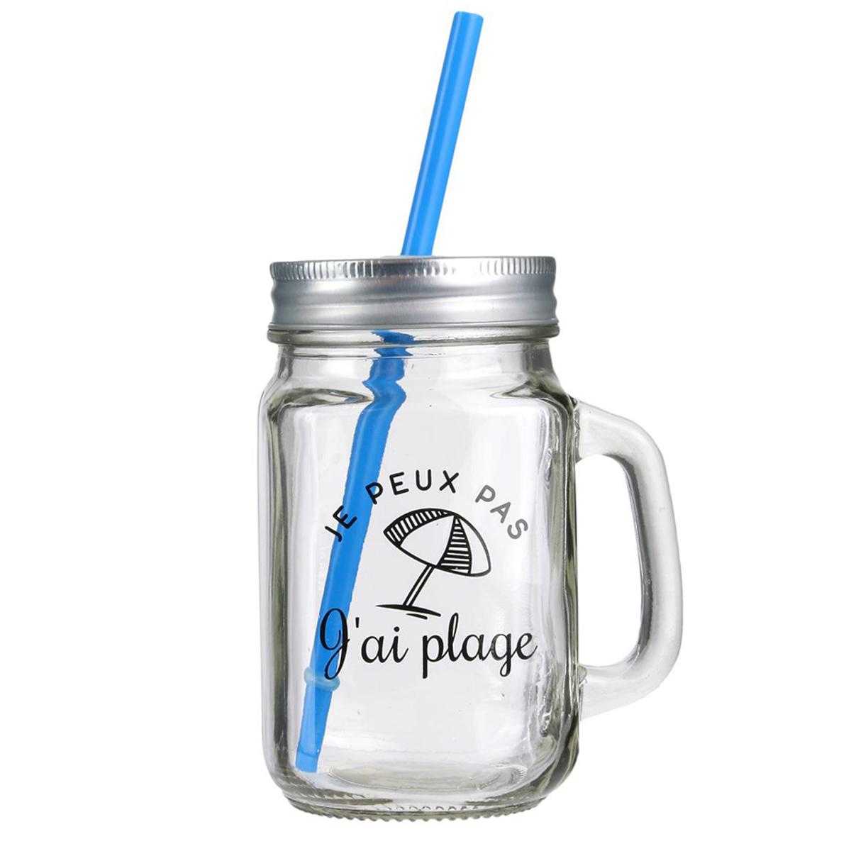 Mason jar verre \'Messages\' bleu (je peux pas j\'ai plage) - 45 cl - [Q0480]