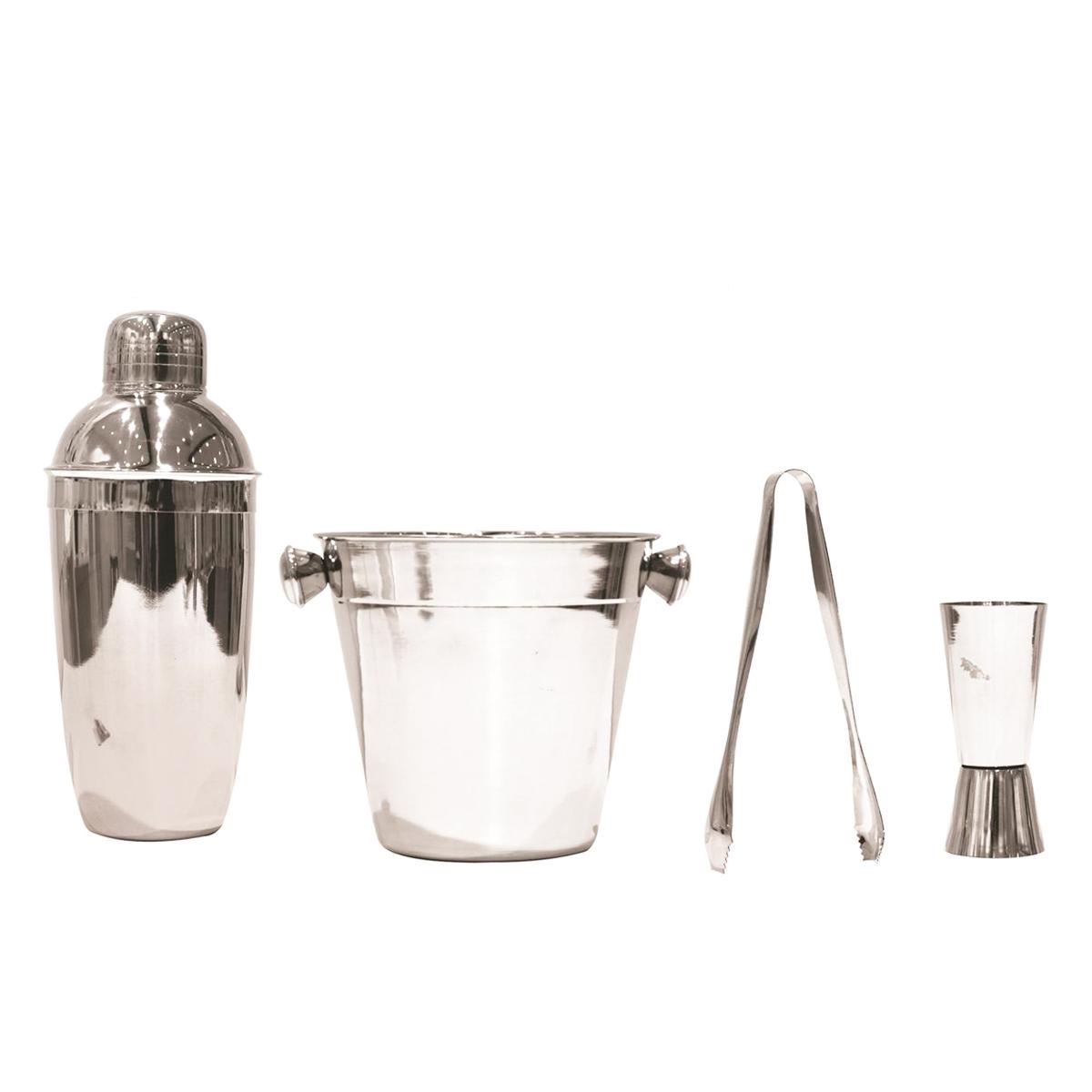 Coffret cocktail acier \'Design\' chrome (4 pièces)  - [Q0496]