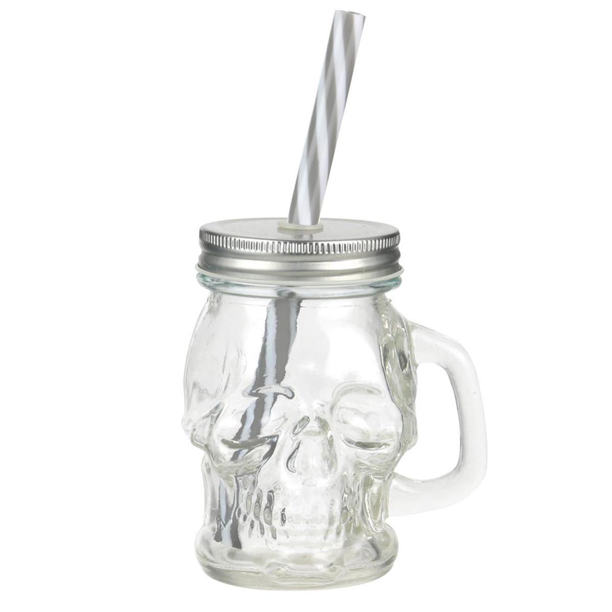 Mason jar verre \'Tête de Mort\' argenté transparent - 15 cl - [Q0500]