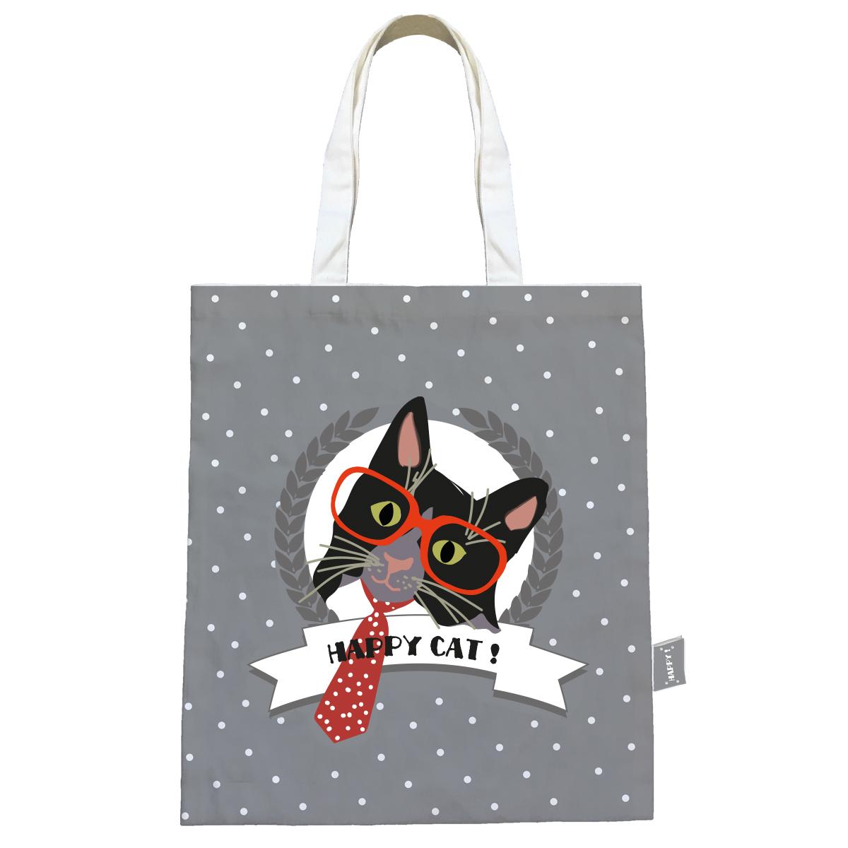 Sac coton / tote bag \'Happy Cat\' gris (cravate) - 44x38 cm - [Q0593]