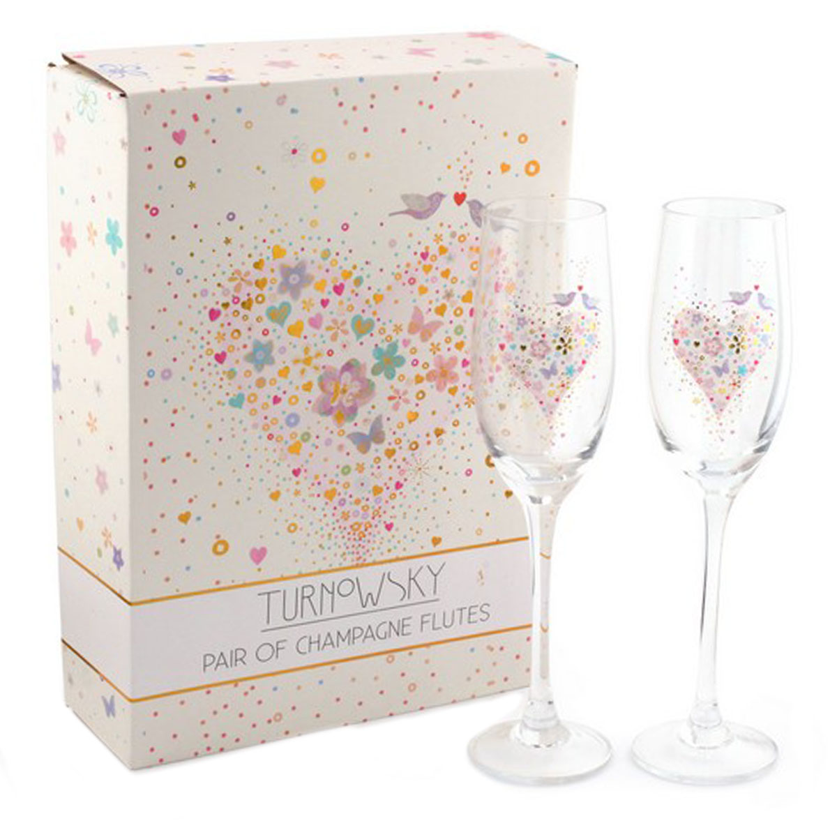 2 coupes flutes à champagne \'Love\' multicolore - 235 cm - [Q1657]