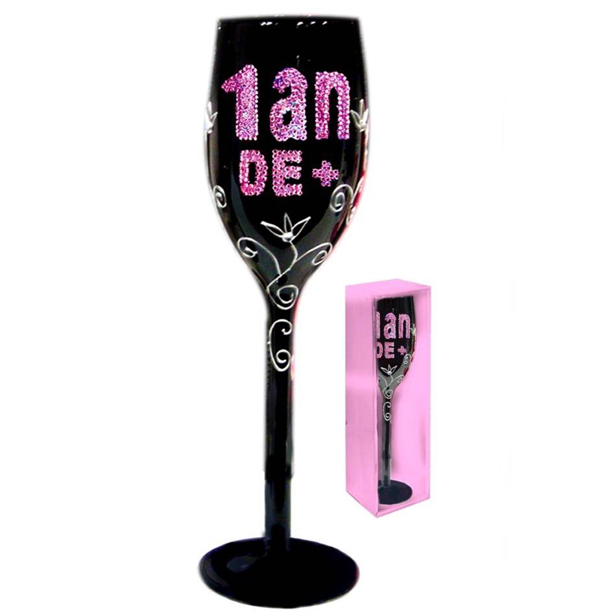 Coupe flute à champagne \'1 an de +\' noir rose - 24 cm - [Q2006]