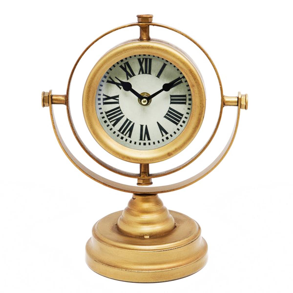 Horloge métal \'Vintage Design\' doré - hauteur 25 cm - [Q2069]