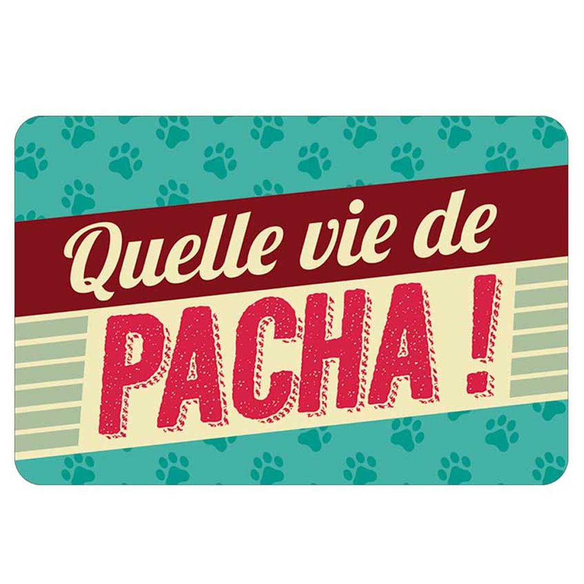 Tapis Intérieur \'Messages\' (Quelle vie de pacha !) - 60x40 cm - [Q2410]