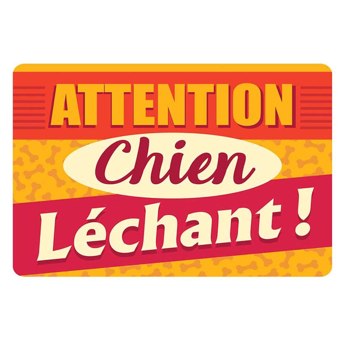 Tapis Intérieur / voiture \'Messages\' (Attention Chien Léchant !) - 80x60 cm - [Q2411]
