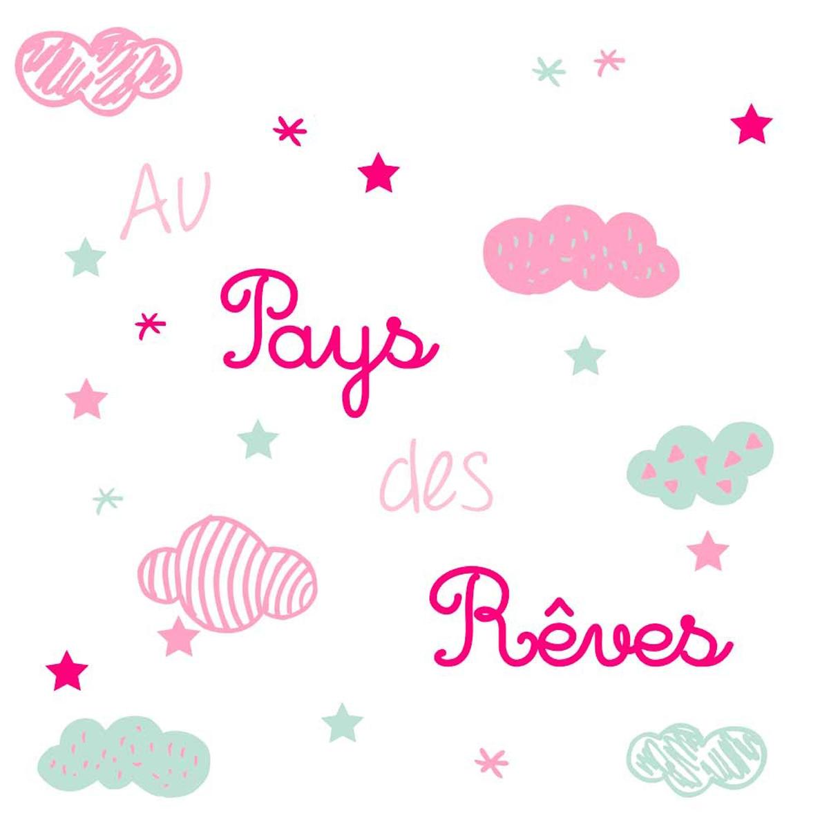 Planche de stickers \'Au pays des Rêves\' rose (nuages) - 50x70 cm - [Q2423]
