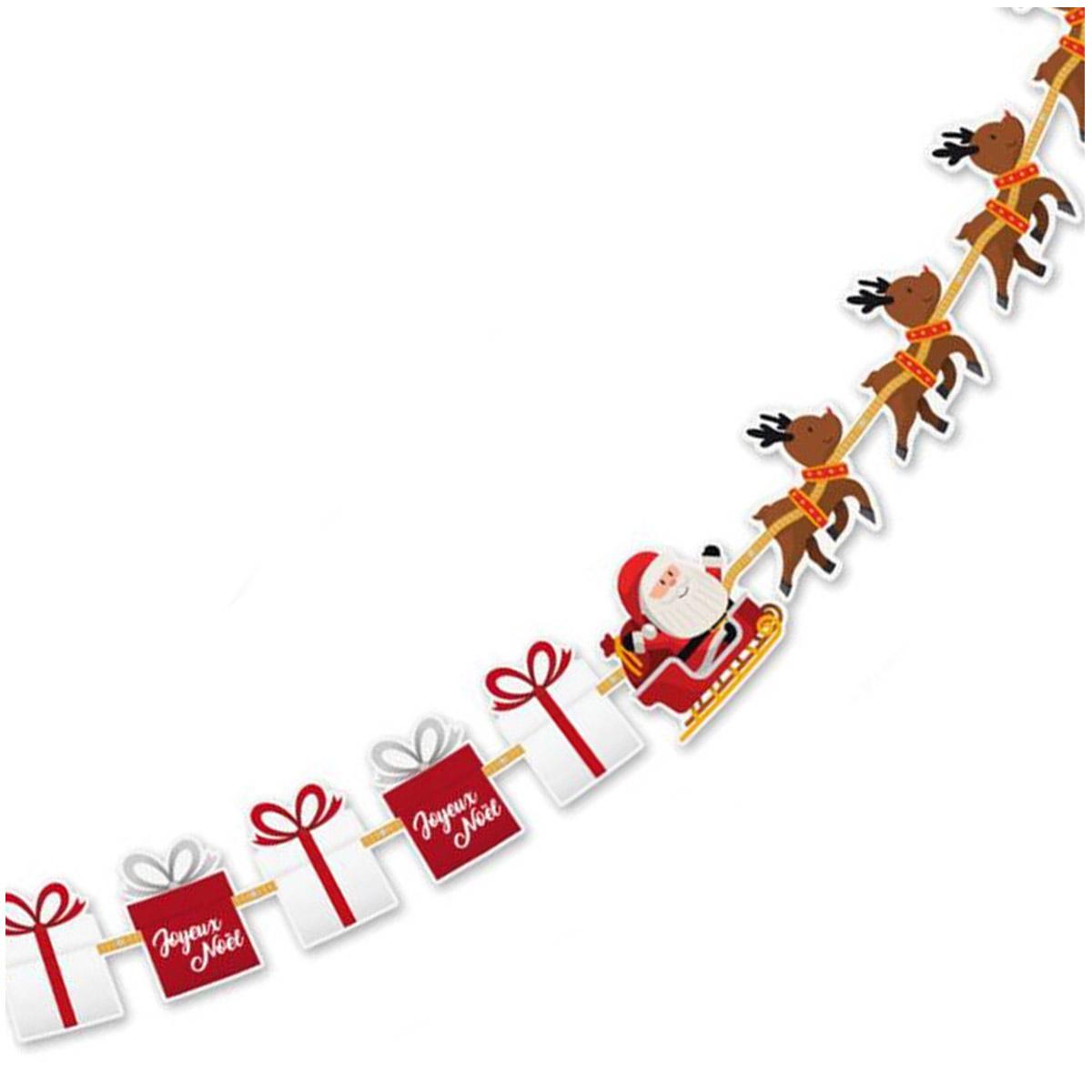 Guirlande \'Joyeux Noël\' (cadeaux, père noël, rennes) - 22 m 25 cm - [Q3560]