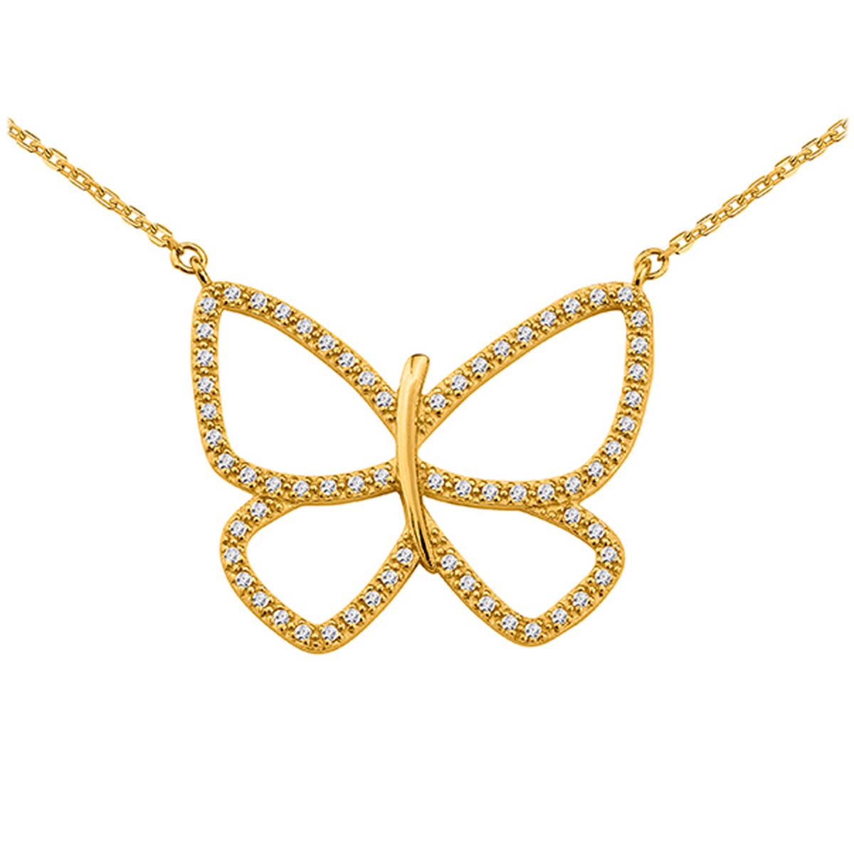 Collier plaqué or \'Papillon Lumière\' doré - 28x22 mm - [Q3583]