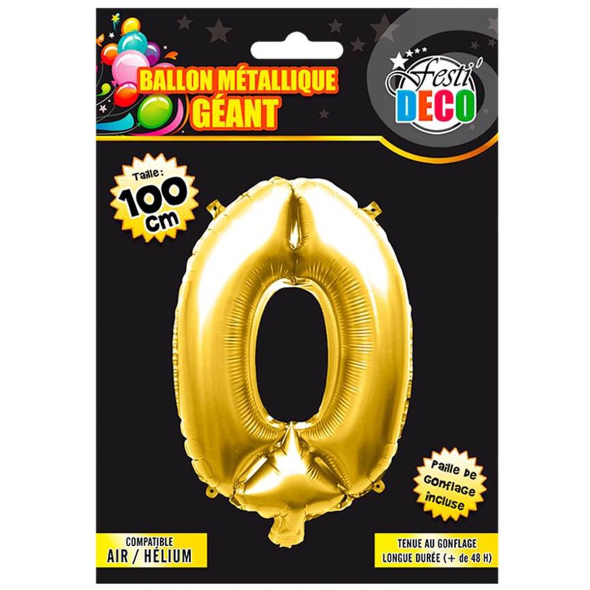 Ballon métallique \'Chiffre 0\' doré - 1 m - [Q4536]