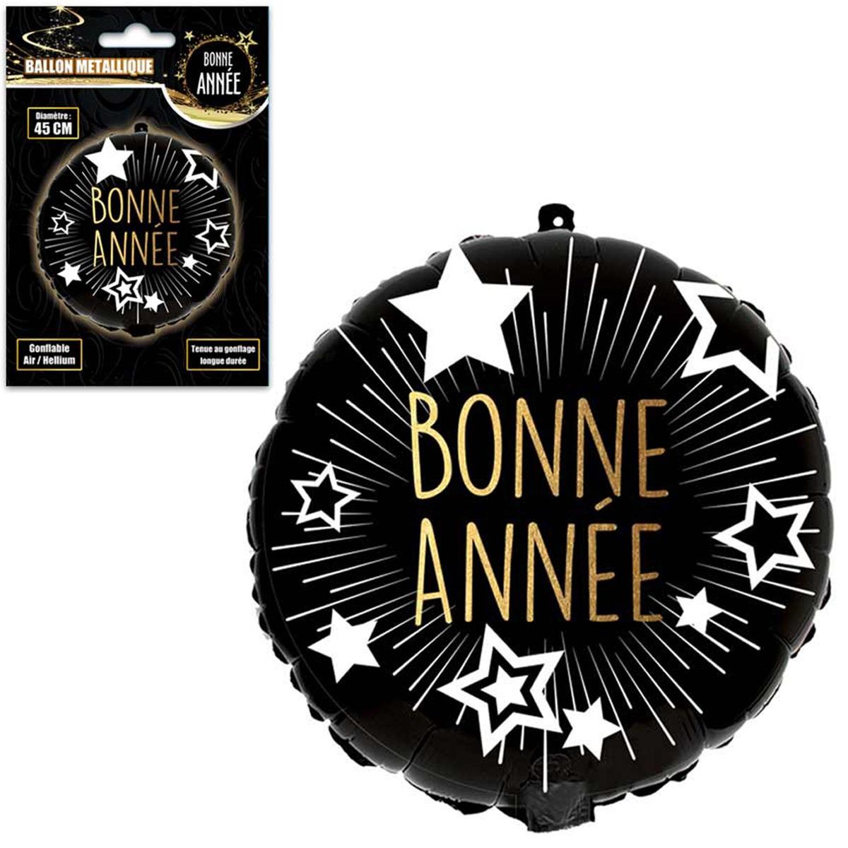Ballon métallique \'Bonne Année\' noir doré - 45 cm - [Q4555]