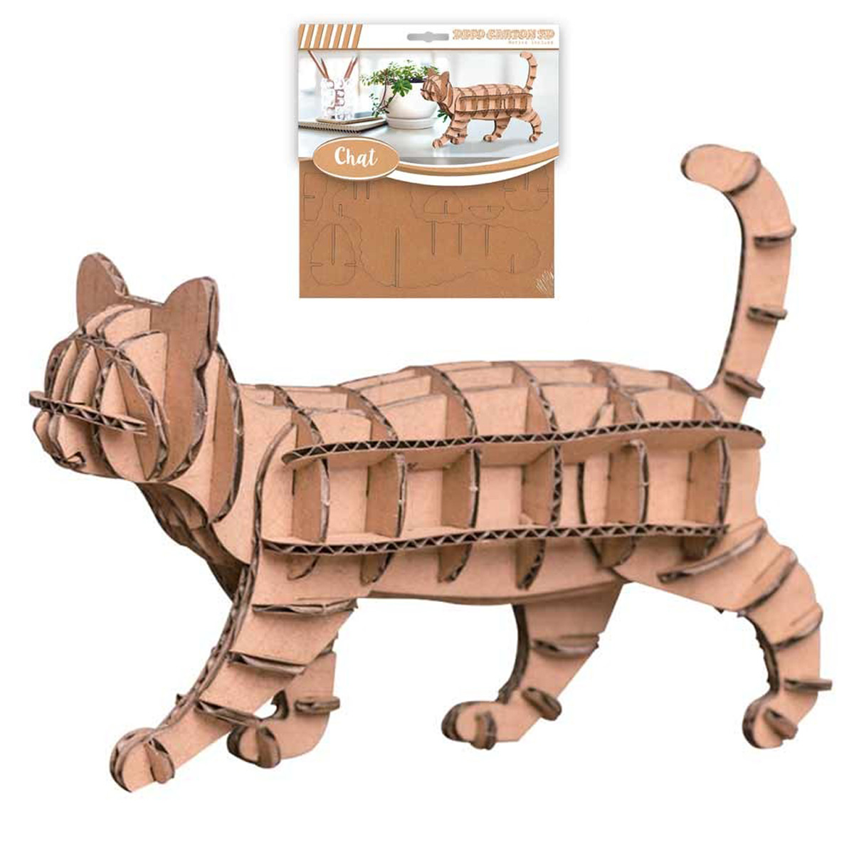 Figurine carton 3D \'Chat\' - planches 165x175 cm - [Q4561]