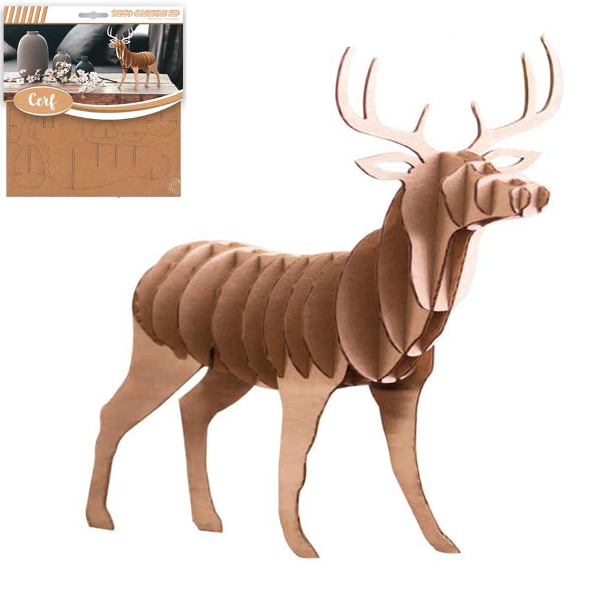 Figurine carton 3D \'Cerf\' - planches 165x175 cm - [Q4562]