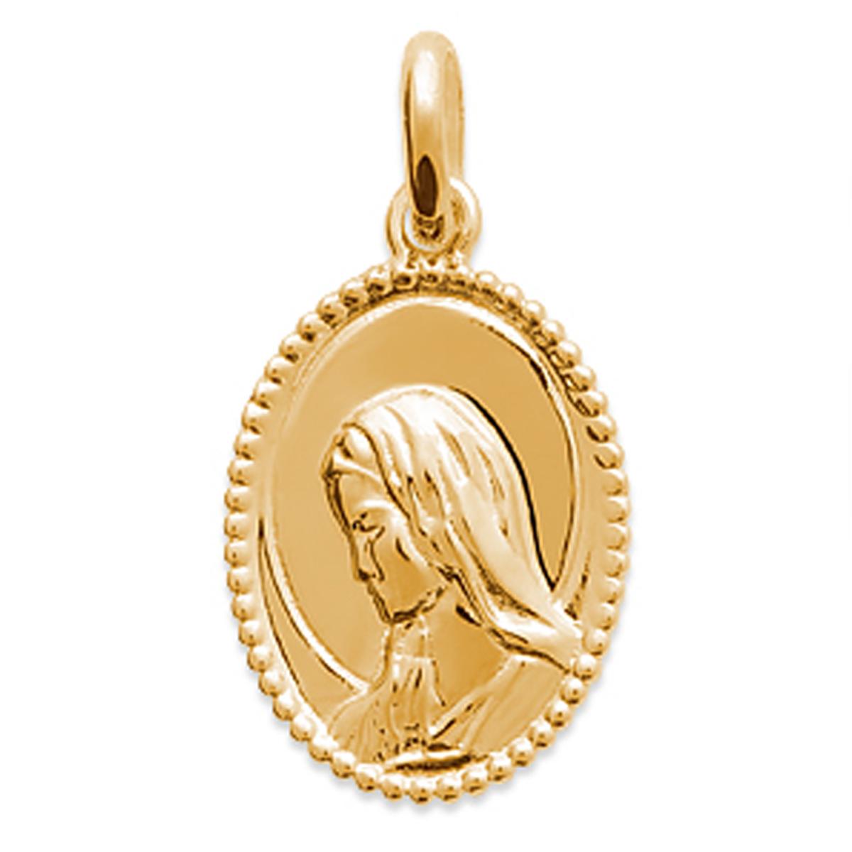 Pendentif Plaqué Or \'Vierge Marie\' Doré - 15x11 mm - [Q4715]