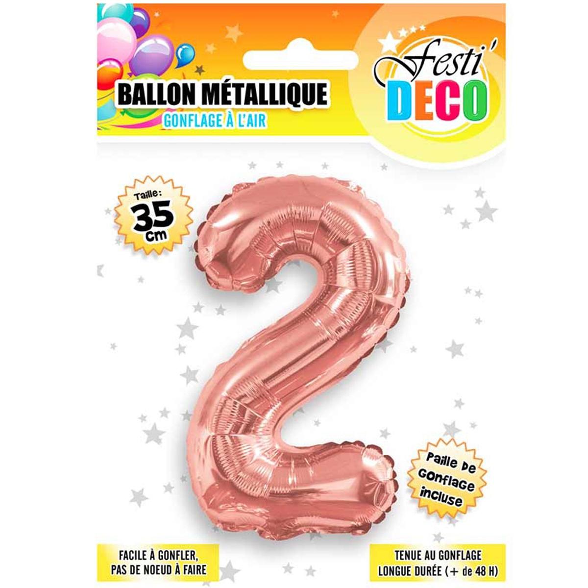 Ballon métallique \'Chiffre 2\' doré rosé - 35 cm - [Q5458]