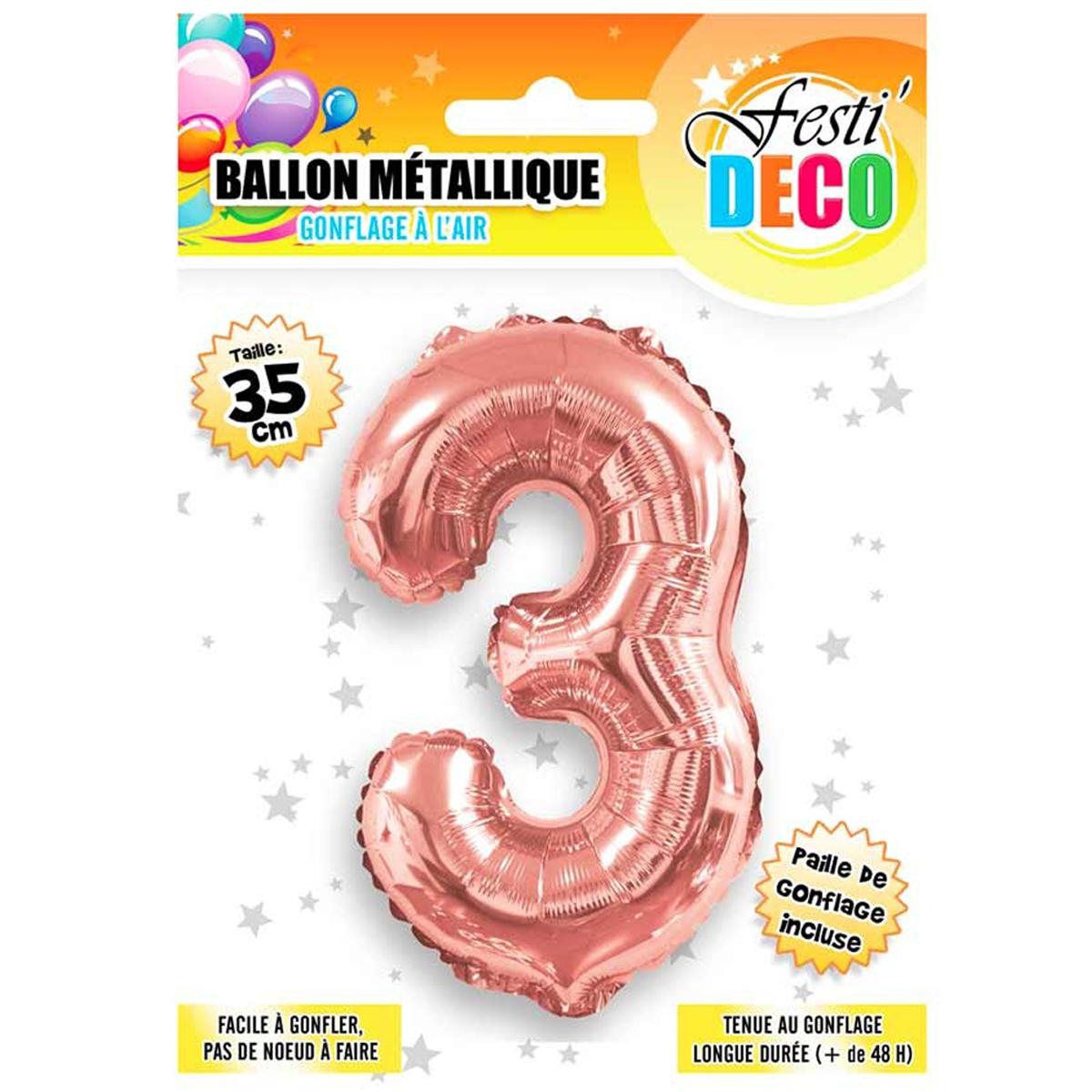 Ballon métallique \'Chiffre 3\' doré rosé - 35 cm - [Q5459]