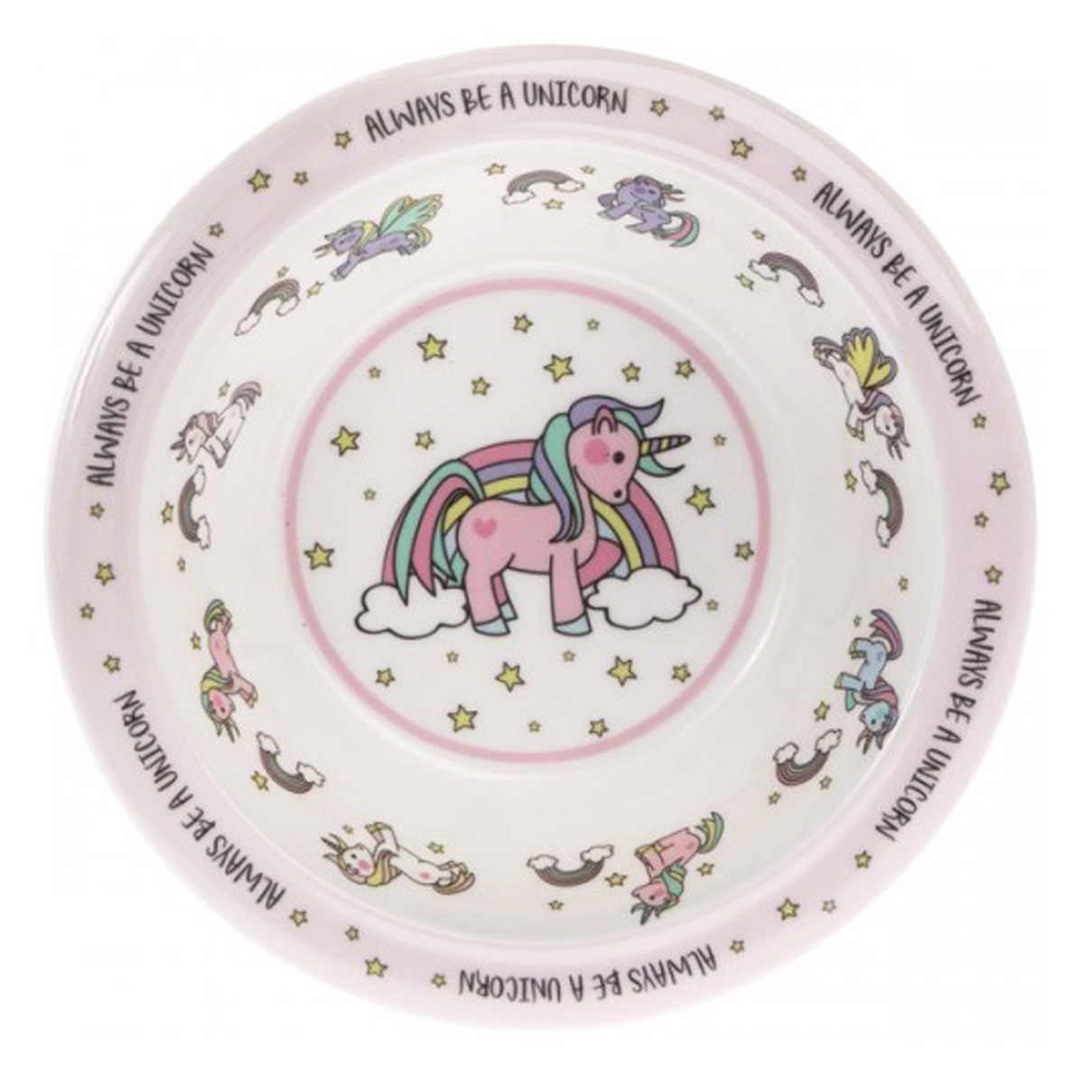Bol enfant mélamine  \'Licorne My Unicorn\' rose blanc - 16x5 cm - [Q5550]