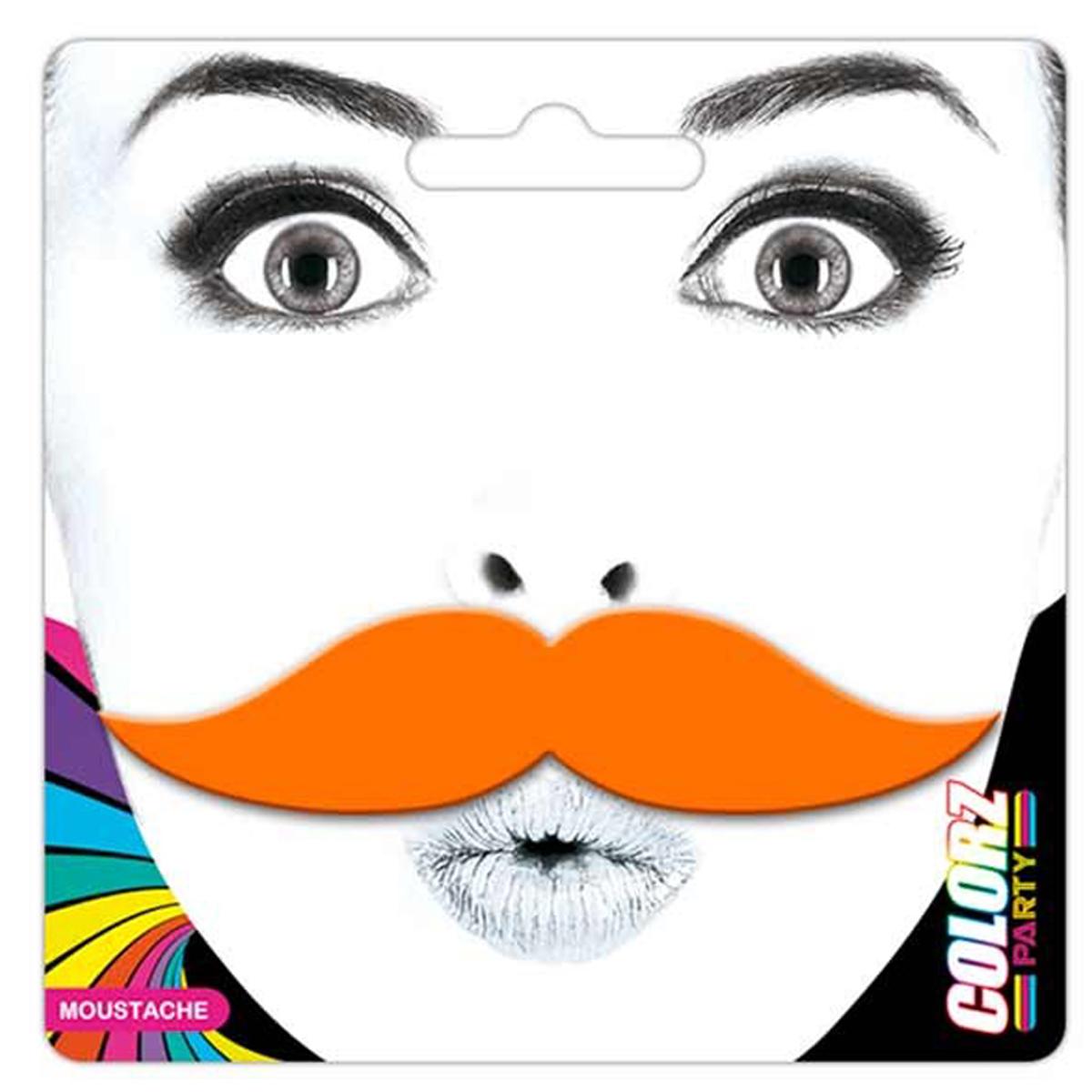 Fausse moustache \'Coloriage\' orange - 9x23 cm - [Q5568]