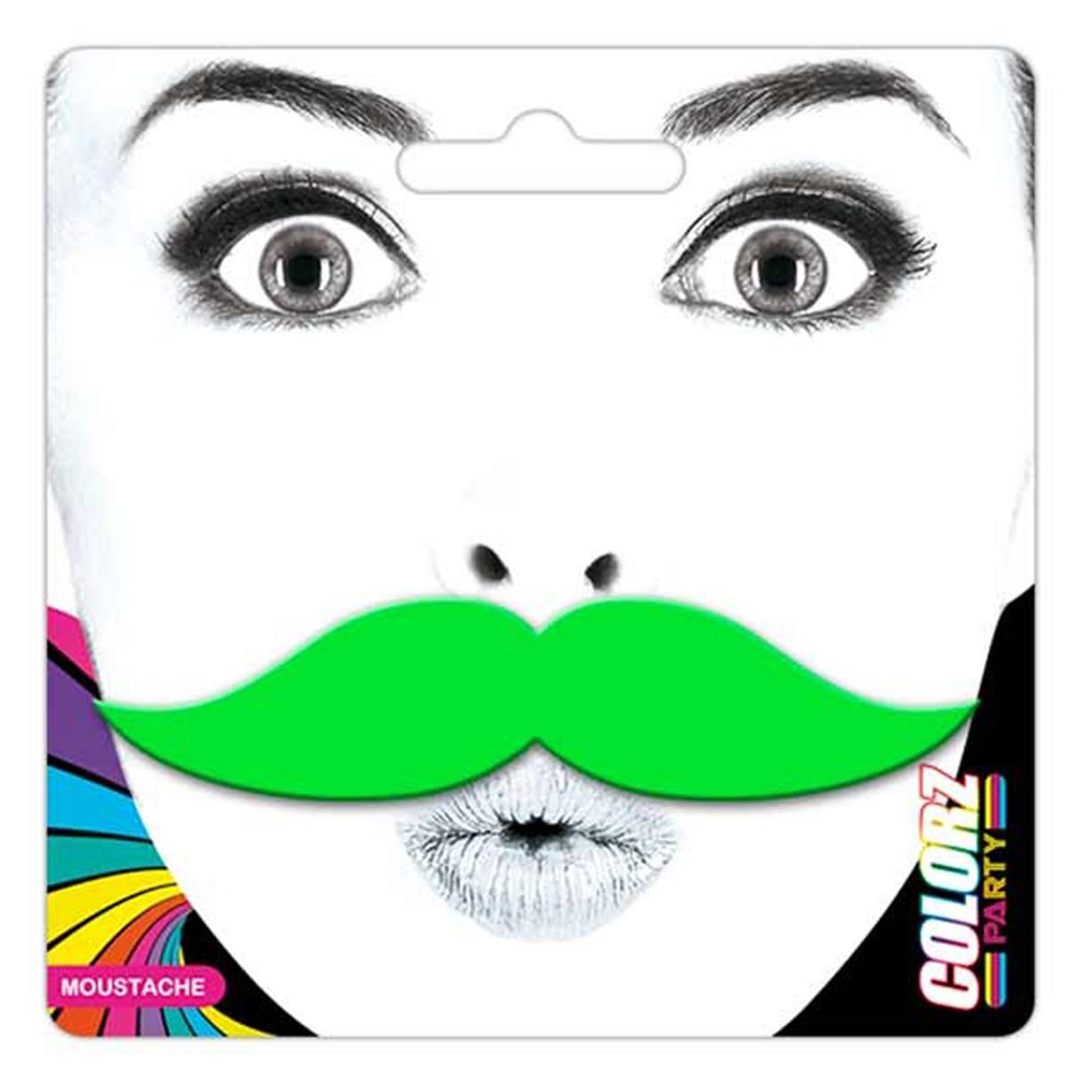 Fausse moustache \'Coloriage\' vert - 9x23 cm - [Q5570]