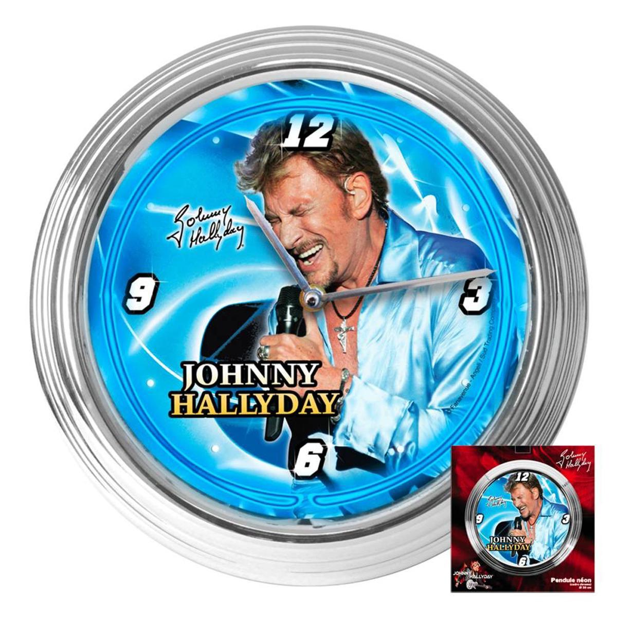Horloge Murale Néon \'Johnny Hallyday\' bleu (scène) - 37x7 cm - [Q5572]