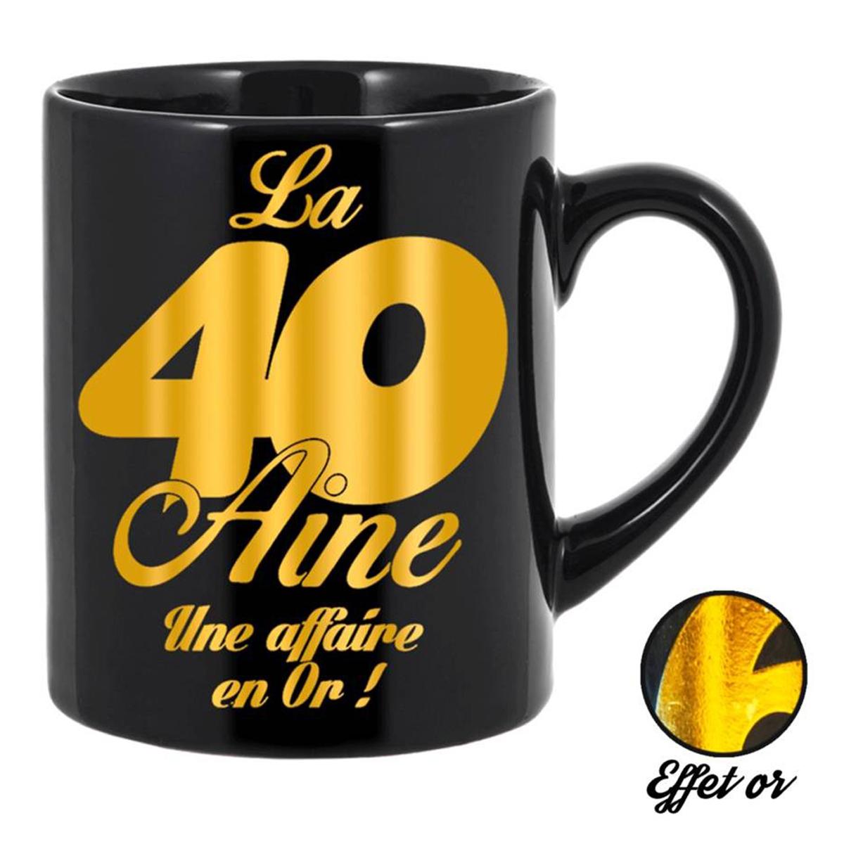 Grand mug tendresse \'40 aine\' noir doré - 11x105 cm - [Q5576]