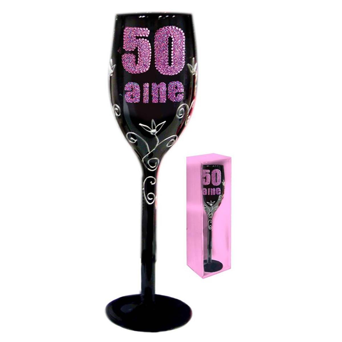 Coupe flute à champagne \'50 aine\' noir rose - 24 cm - [Q5586]