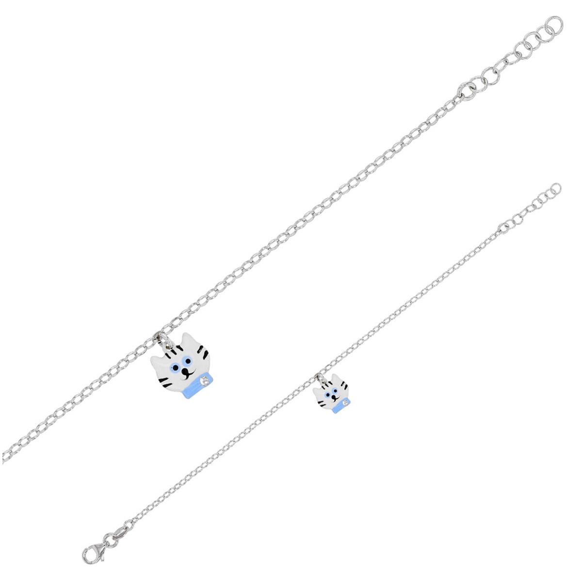 Bracelet Enfant \'Chat\' blanc bleu S&B - 10 mm - [Q6013]