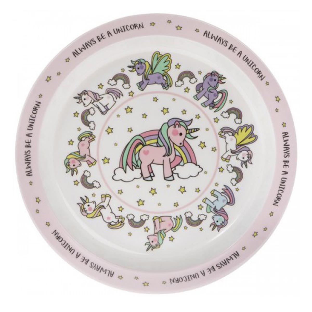 Assiette enfant mélamine  \'Licorne My Unicorn\' rose blanc - 215 cm - [Q6451]