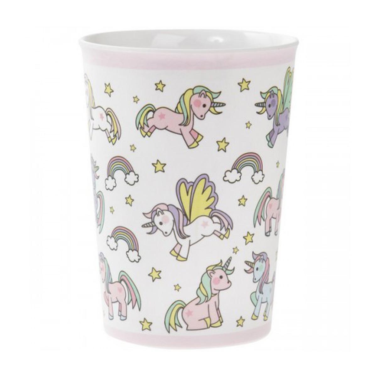 Gobelet enfant mélamine  \'Licorne My Unicorn\' rose blanc - 15x75 cm - [Q6453]