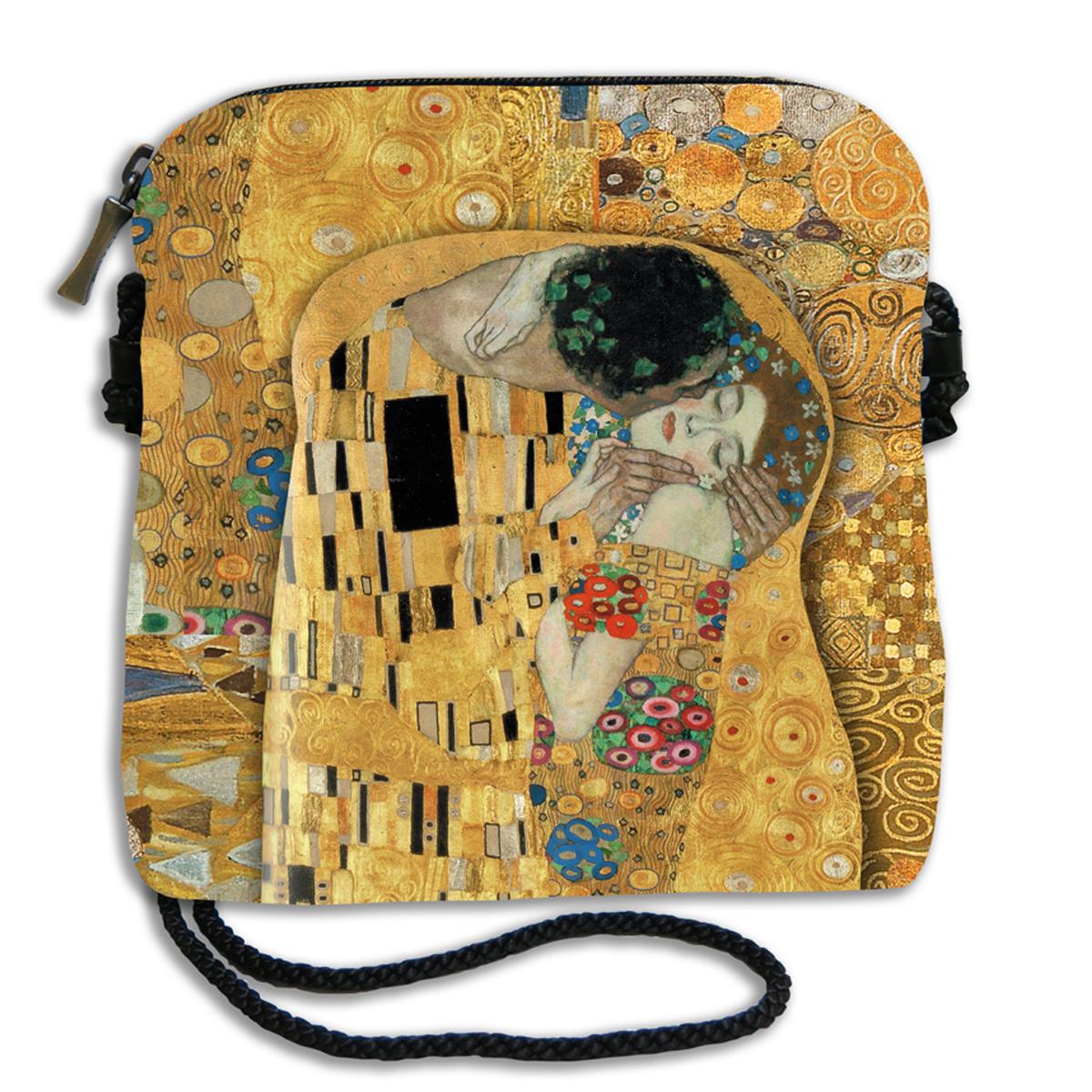 Sac bandoulière artisanal \'Gustav Klimt\' (la Baiser)  - 18x17 cm - [Q6658]