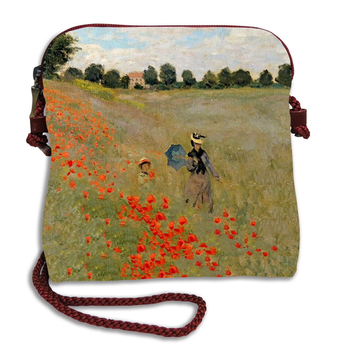 Sac bandoulière artisanal \'Claude Monet\' (les Coquelicots)  - 18x17 cm - [Q6659]