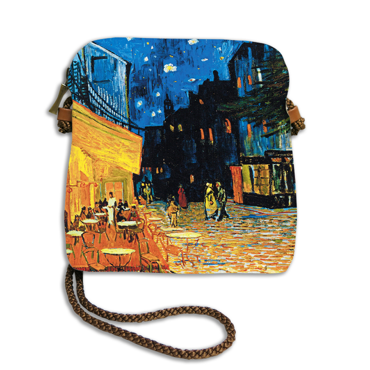 Sac bandoulière artisanal \'Vincent Van Gogh\' (Terrasse du café le soir)  - 18x17 cm - [Q6661]