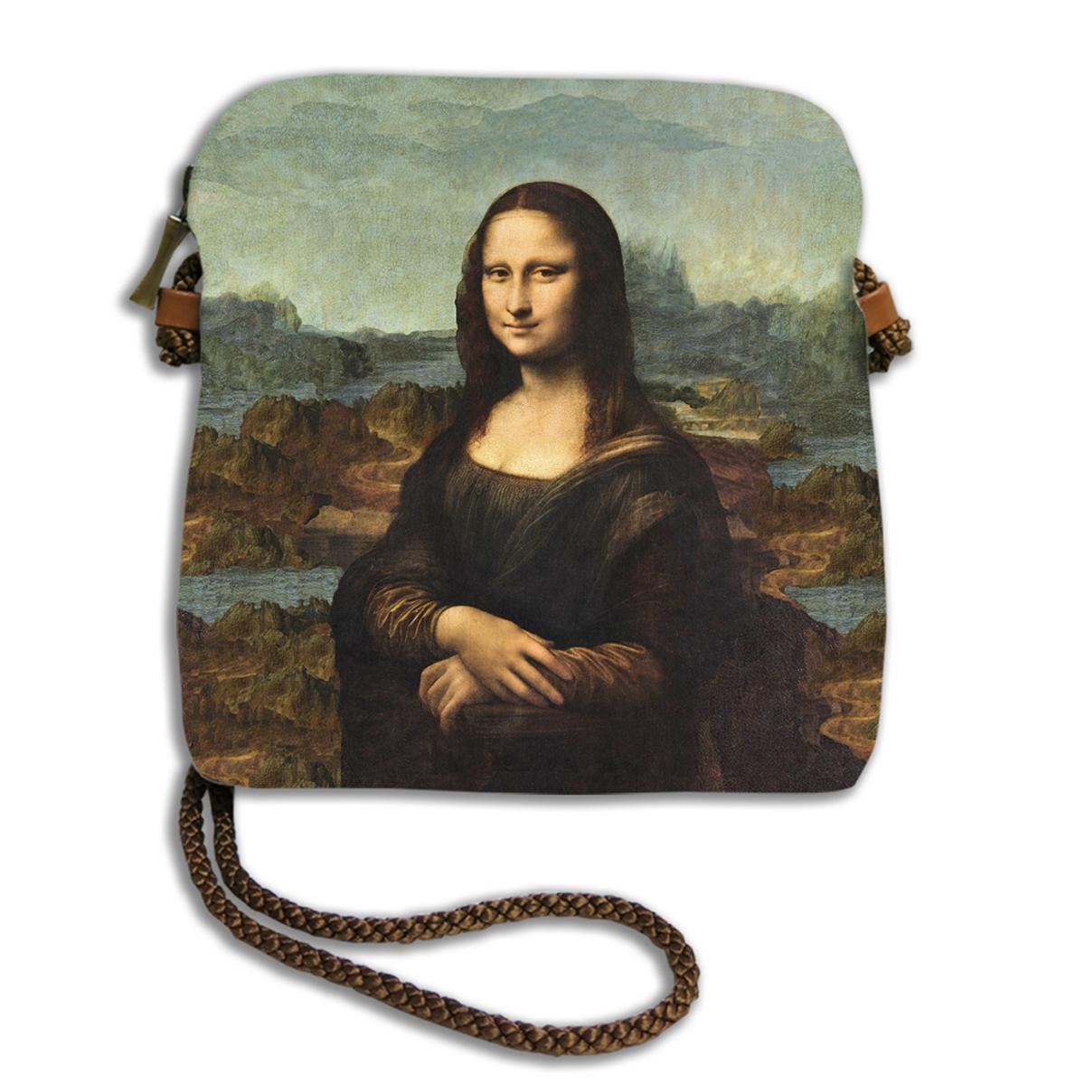 Sac bandoulière artisanal \'Léonard de Vinci\' (le Joconde)  - 18x17 cm - [Q6662]