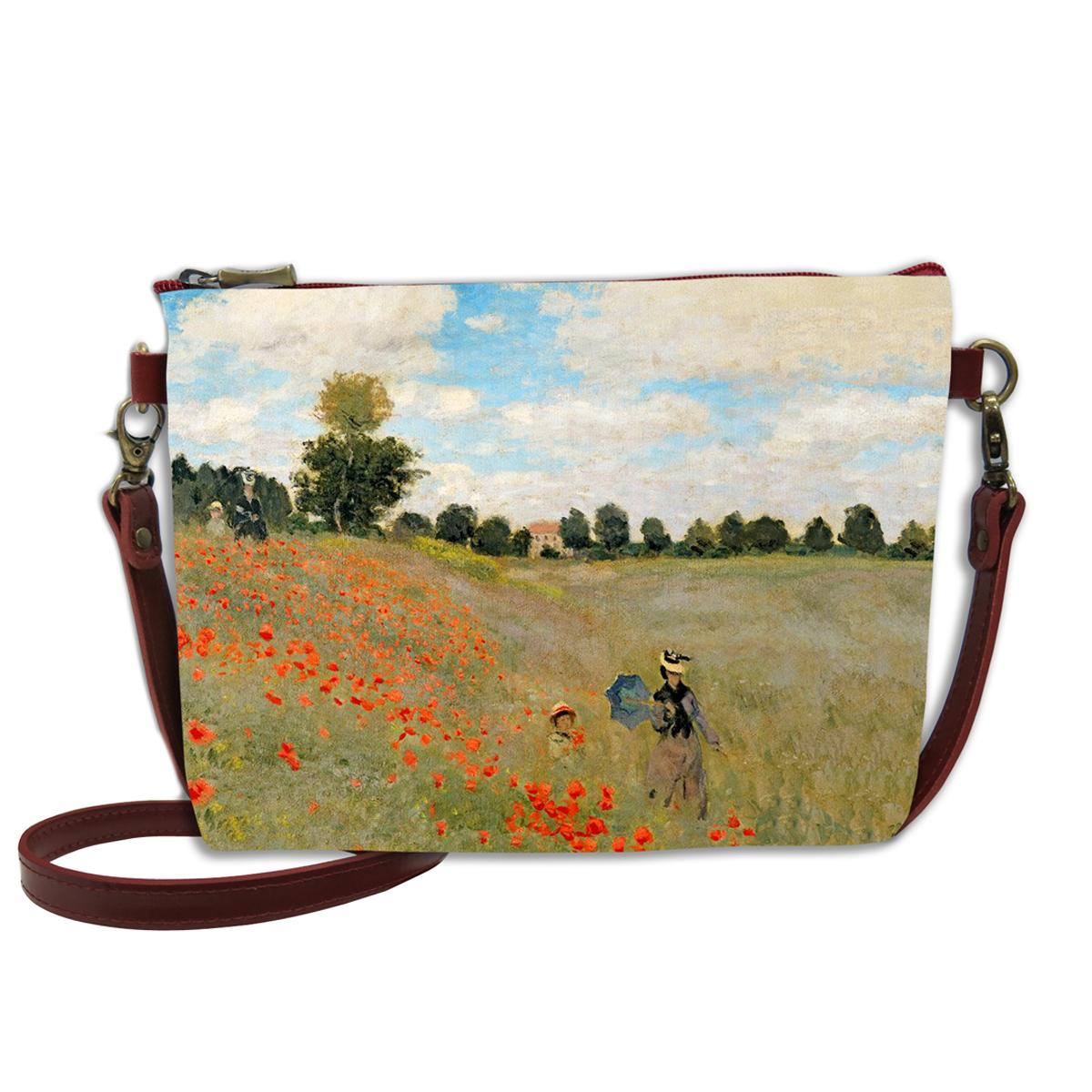 Sac bandoulière artisanal \'Claude Monet\' (les Coquelicots)  - 24x18 cm - [Q6665]