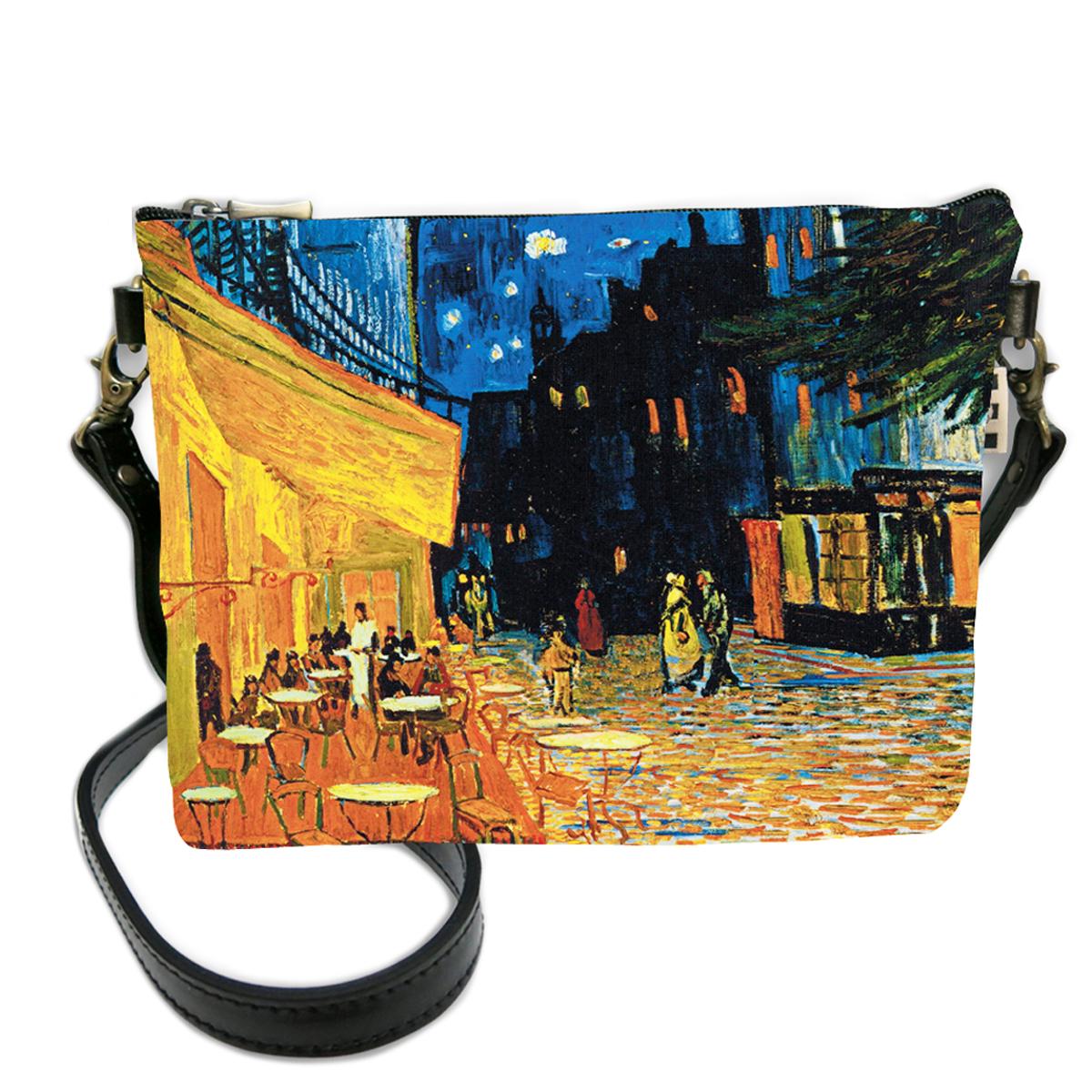 Sac bandoulière artisanal \'Vincent Van Gogh\' (Terrasse du café le soir)  - 24x18 cm - [Q6667]
