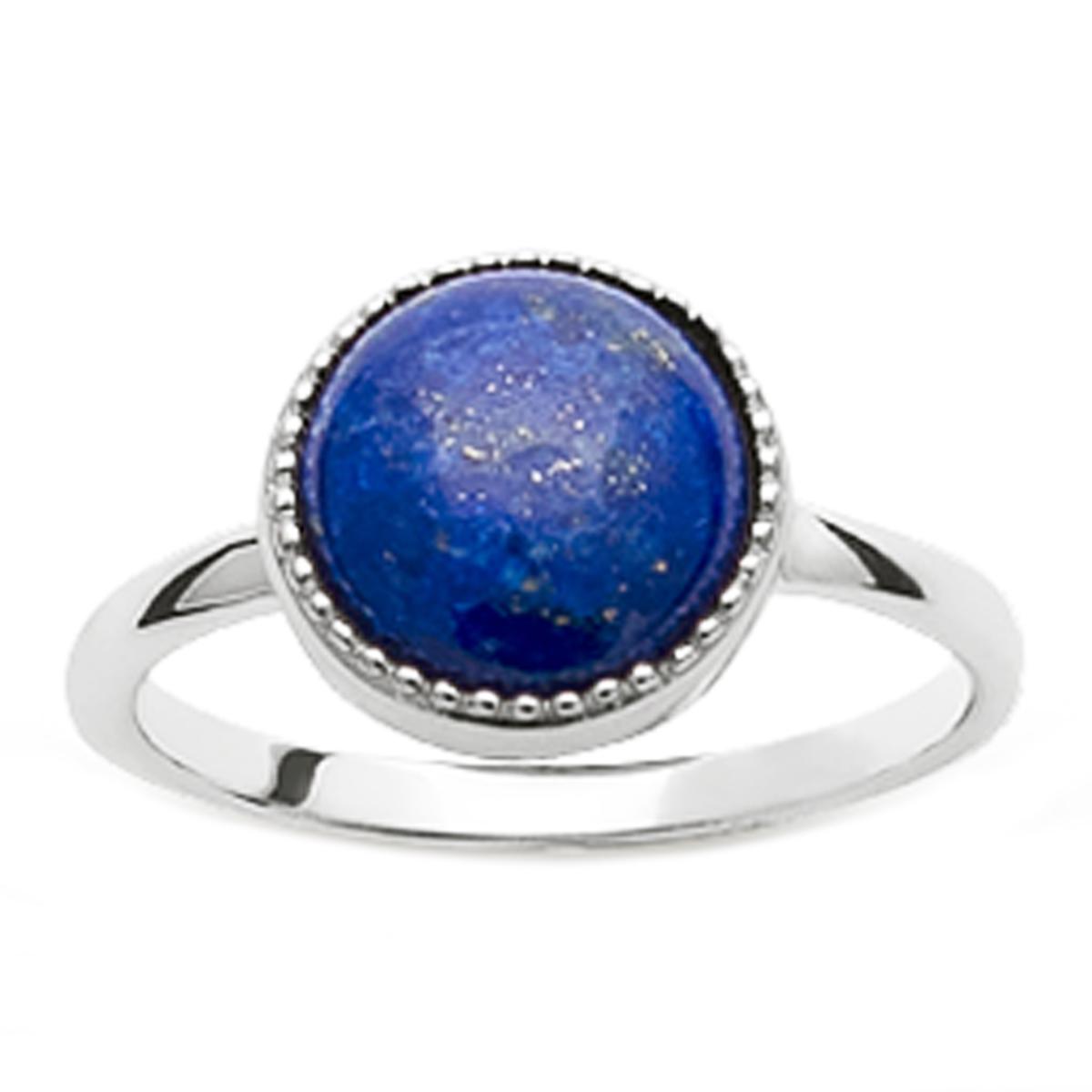 Bague Argent \'Cléopatra\' lapis lazuli argenté (rhodié) - 11 mm - [Q6674]