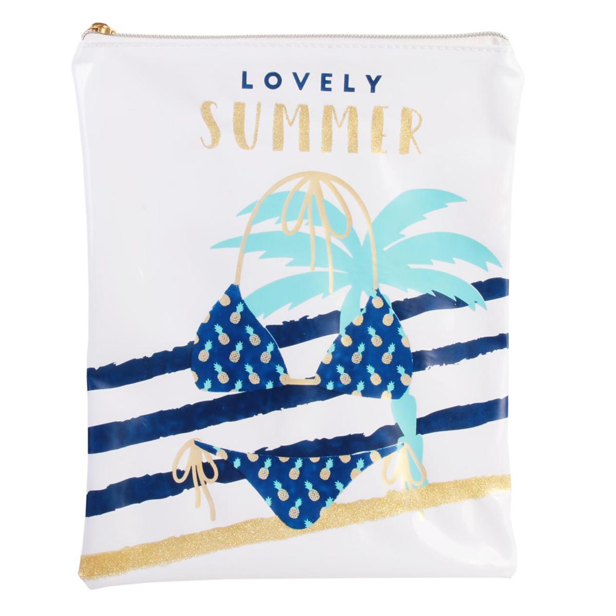 Pochette maillot de bain \'Tropical\' blanc bleu (Lovely summer) - 23x18 cm - [Q7773]